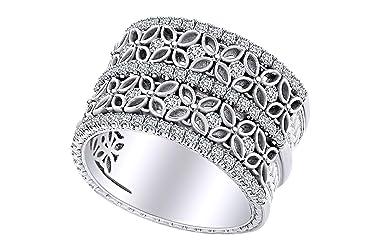 IGI Certified 1.01 Carat (cttw) Round Shape White Natural Diamond Flower Band Ring 18k Solid Gold