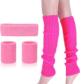 Leg Warmers Set - Women 80s Pink knitted leg warmers Running Headband Wristbands Warmers 80s Theme Party Accessories