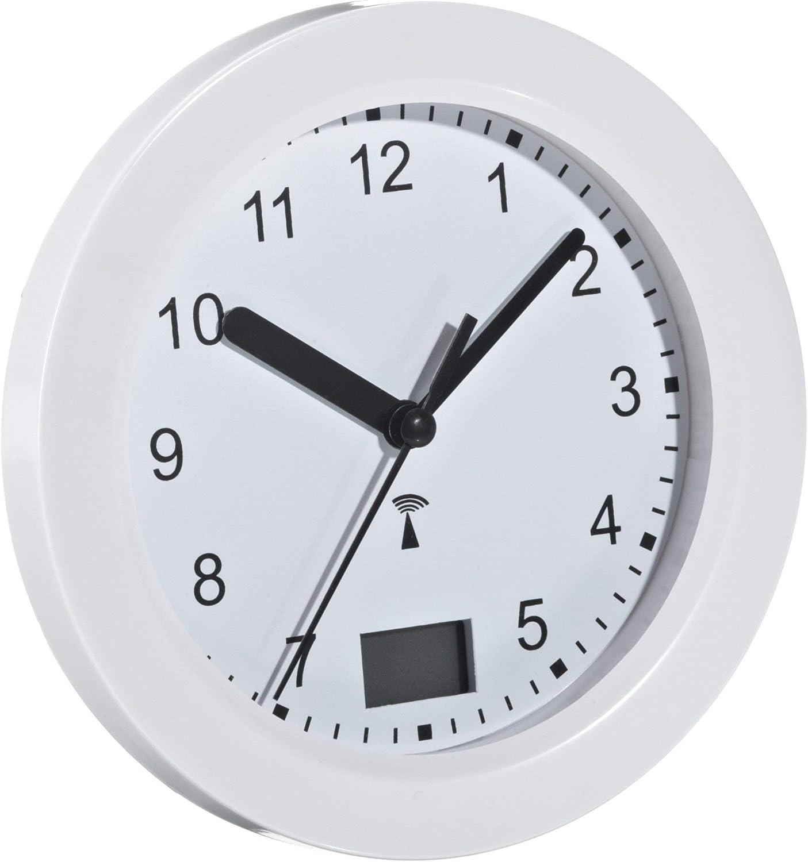 TFA Dostmann Funk Badezimmeruhr, mit Temperaturanzeige, Funkuhr,  feuchtigkeitsgeschütztz, 20 große Saugnäpfe   Befestigung, weiß, 20.20