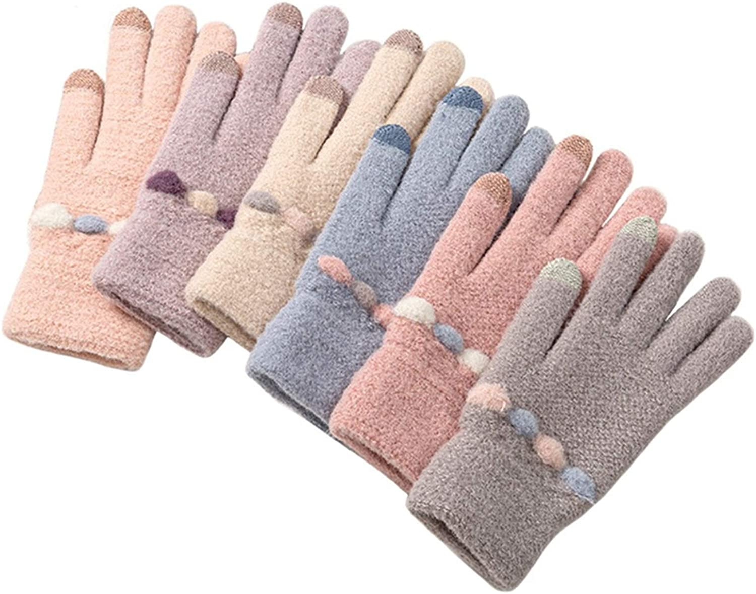 A-YSJ Winter Touch Screen Knitted Gloves Women's Mittens Thick Plush Warm Wrist Elastic Gloves for Driving (Color : Blue, Gloves Size : One Size)