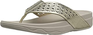 FitFlop Womens I39 Leather Lattice SurfaTM Floral Flip Flops