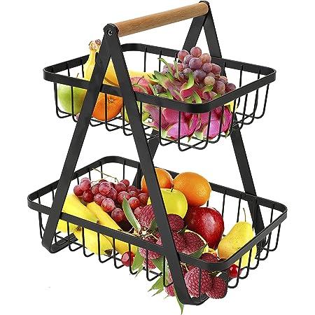 Corbeille à fruits 2 places - Pour la cuisine - Noir