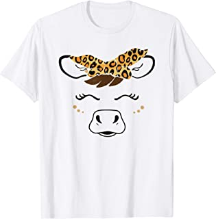 Cute Cow Face With Leopard Headband Funny Cow Lover Gifts T-Shirt