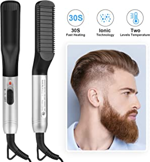 Beard Straightener Comb for Man,Ionic Beard Straightening Brush with 30s Fast Heating Ceramic Anti Scald Multifuntional Electric Comb for Home,Travel,Salon,Gift 110-240V Dual Voltage