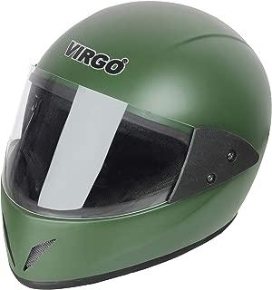 Virgo Matt Finish Visor Helmet (Green, Clear/Transparent)