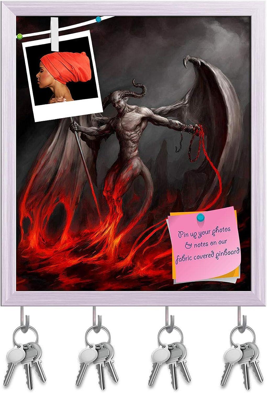 Artzfolio Devil Artwork Key Holder Hooks   Notice Pin Board   White Frame 16 X 18.5Inch