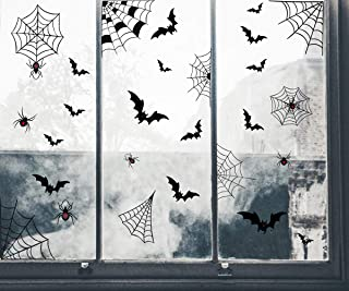 IARTTOP DIY Scary Bats Spider Wall Decal (26 pcs), Halloween Party Supplies Spider Web Sticker for Kids Room Living Room Window Decoration