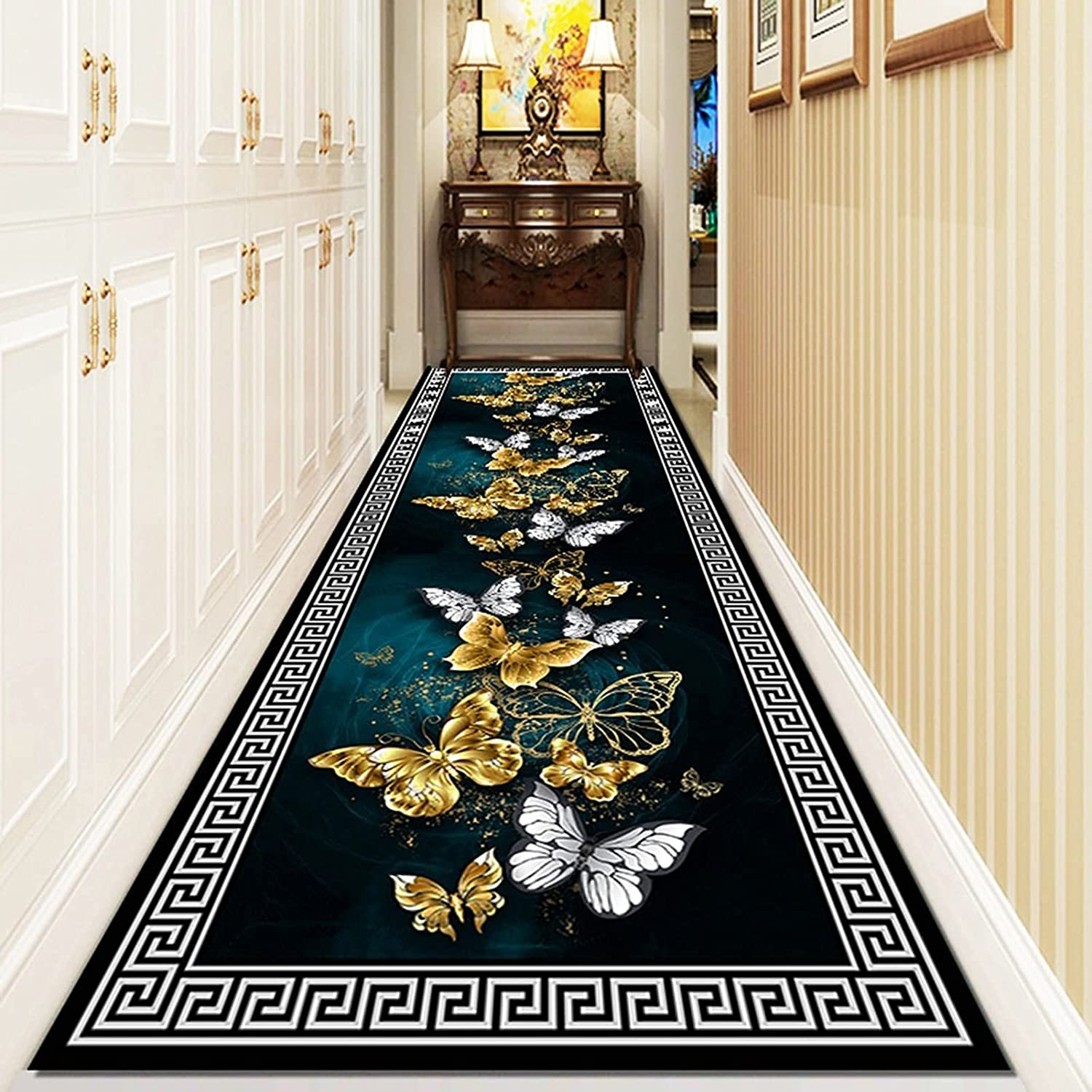 ERLAN Bedroom Spasm price Rugs Runner Today's only Washable Dark with G Blue Carpet Area