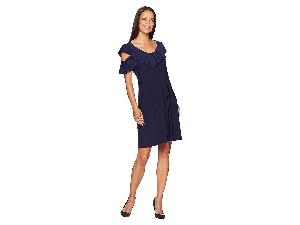 American Rose Sloan Cold Shoulder Ruffle Dress (Navy) Women