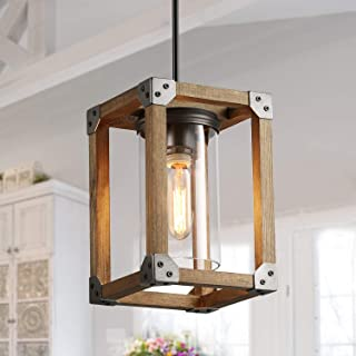 LNC Farmhouse Pendant Lighting for Kitchen Island, Rustic Wood Pendant Lights for Dining Room, Foyer, Entryway