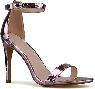 Premier Standard - Women's Strappy Kitten High Heel - Formal, Wedding, Party Simple Classic Pump Pink Size: 7