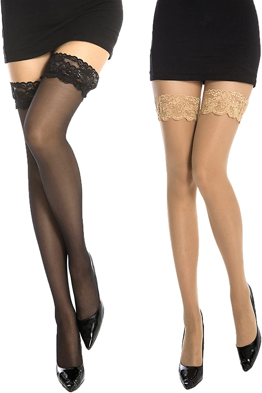 MANZI Women's 2 Pairs Silicone Lace Top Sexy Thigh High Stocking 20 Denier