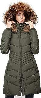 Escalier Women's Down Jacket Winter Long Parka Coat with Raccoon Fur Hooded