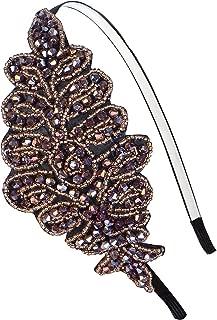 Alilang Womens Vintage 1920s Hand-Beads Retro Big Flower Leaf Flapper Headband