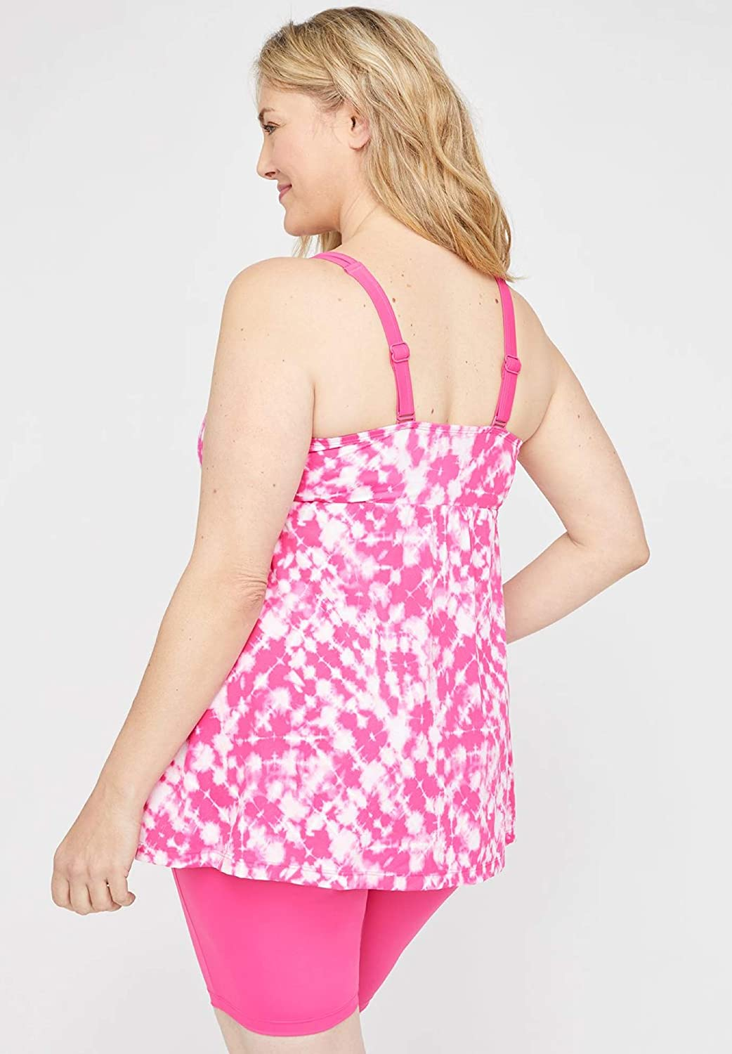 Swimsuits for All Women's Plus Size Tie-Dye Keyhole Tankini Top