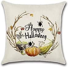 Rancheng 18 x 18 Halloween Pumpkin Pillowcase Cartoon Moon Pillow Cases Linen Cotton Cushion Cover Sofa Bedroom Pillowcase Home Patio Car Pillow Cover