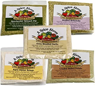 A Spice Above 5 Pack Best Seller Variety Dips, Mixed Seasonings Packets Includes Aged Alpine Asiago, Stuffed Artichoke, Loaded Baked Potato, Oven Roasted Garlic, Spectacular Spinach