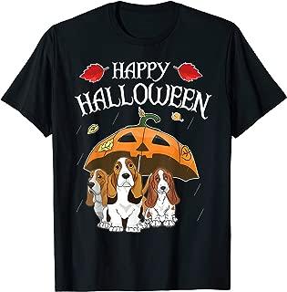 Basset Hounds In Scary Umbrella Rain Night Happy Halloween