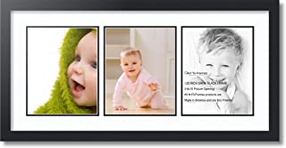ArtToFrames Double-Multimat-25-61/89-FRBW26079 Collage Photo Frame Double Mat with 3-8x10 Openings and Satin Black Frame, Super White, 3-8x10