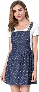 Allegra K Women's Dot Pattern Adjustable Straps Mini Pinafore Jean Denim Overall Dress