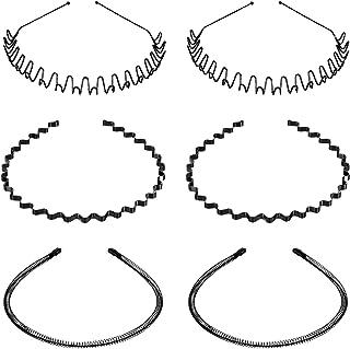 6 Pieces Metal Hair Bands Unisex Black Wavy Metal Hair Hoop Band Sports Metal Headband for Women Men
