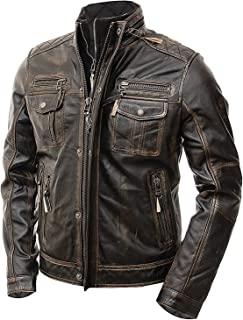 Distressed Brown Vintage Motorcycle Cafe Racer Real Slim and Fit Leather Mens Jacket