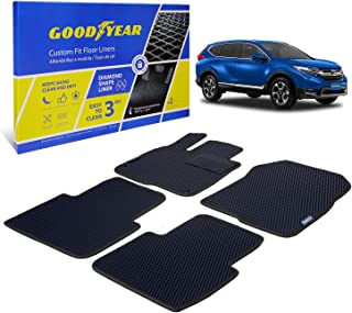 Goodyear Custom Fit Car Floor Liners for Honda CR-V 2017-2021, Black/Black 4 Pc. Set, All-Weather Diamond Shape Liner Traps Dirt, Liquid, Rain and Dust, Precision Interior Coverage - GY004186