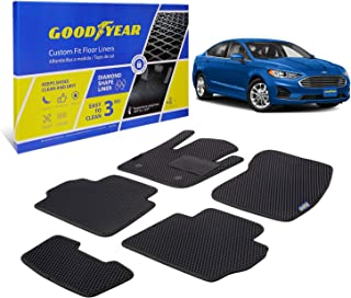 Goodyear Custom Fit Car Floor Liners for Ford Fusion 2013-2016, Black/Black 5 Pc. Set, All-Weather Diamond Shape Liner Tra...