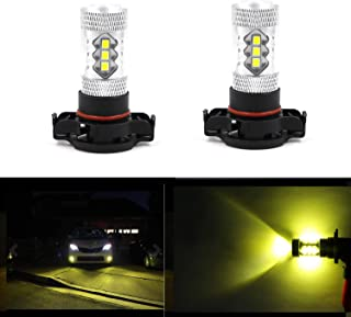 High/Low Beam Light High Power 16pcs 3030-SMD 3000k 8.5W Xtremely Bright 2504 PSX24W Gold Yellow LED Bulbs for Fog Light Lamps Replacement