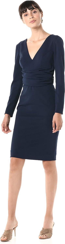 Dress the Population Women's Drew Long Sleeve Stretch Short Dress, Navy, L