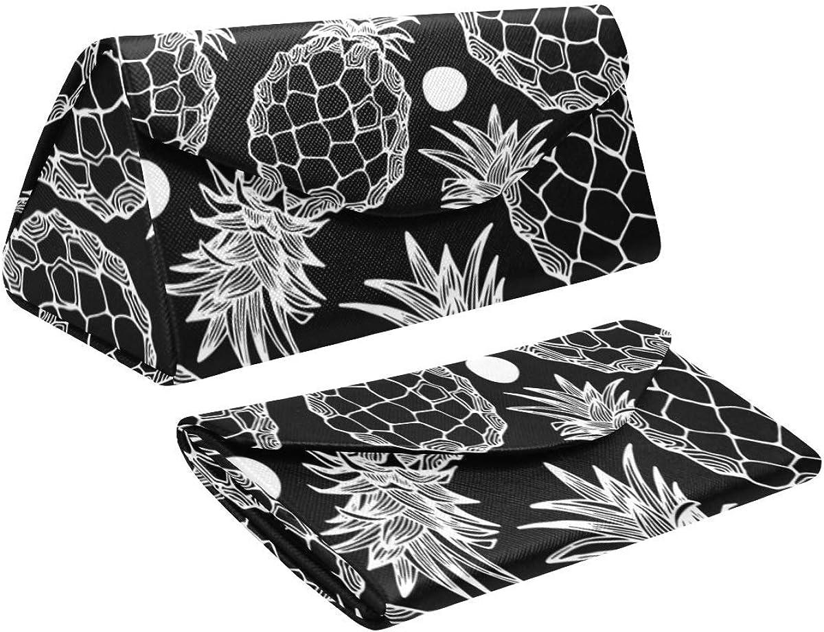 Glasses Case Pineapple Ananas Eyeglass Case Leather Magnetic Folding Hard Case Sunglasses Eyewear Protective Case