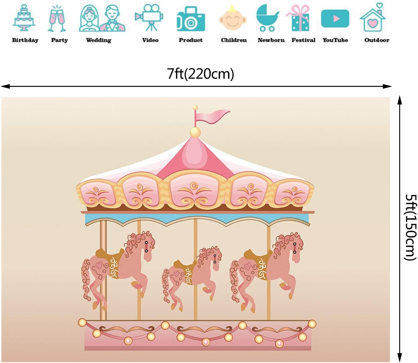 7x5ft Birthday Pink Carousel Backdrop Baby Shower Birthday Backdrops for Girls Birthday Party Banner Shooting Photo Photography Background Props W-2260