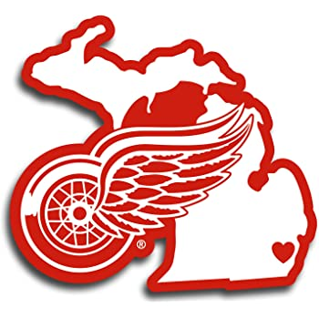 Detroit Red Wings 8 x 8 White Decal Logo