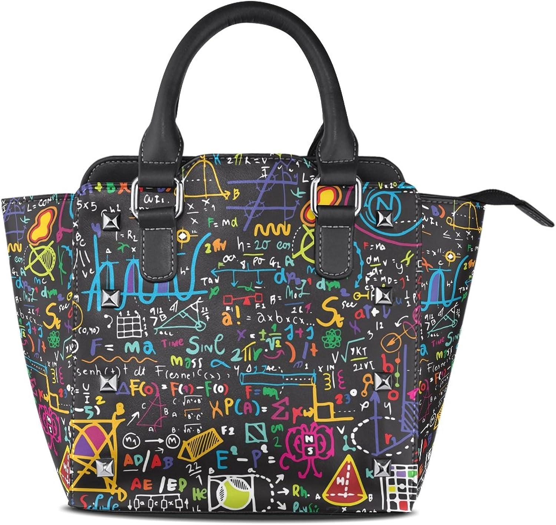 My Little Nest Women's Top Handle Satchel Handbag Doodle Physical Formulas On Blackboard Ladies PU Leather Shoulder Bag Crossbody Bag