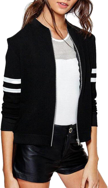 LUKYCILD Women Spring Fall Long Sleeve Baseball Jacket Outwear Bomber Jacket