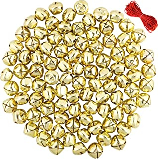Outuxed 168Pcs 1Inch Gold Jingle Bells Christmas Craft Bells for Festival Decoration