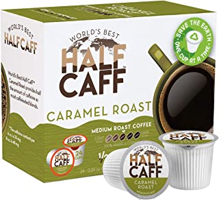 World's Best Half Caff, Caramel Flavored Coffee 24ct. Recyclable Single Serve Coffee Pods - Richly satisfying arabica beans California Roasted, k-cup compatible including 2.0