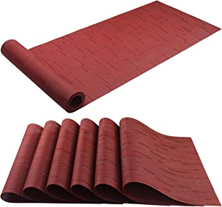 BeChen Placemat Matching with Table Runner,Cross-Weave Heat Resistant Placemat Washable Table Mats Sets(6pcs Placemats + 1 Table Runner, Burgundy Red)