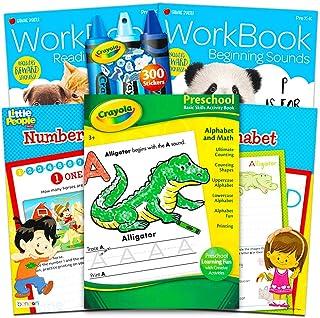 Crayola Preschool Workbooks Set -- 4 Pre-K Learning Workbooks for Preschoolers and Reward Stickers (Alphabet, Counting, Co...