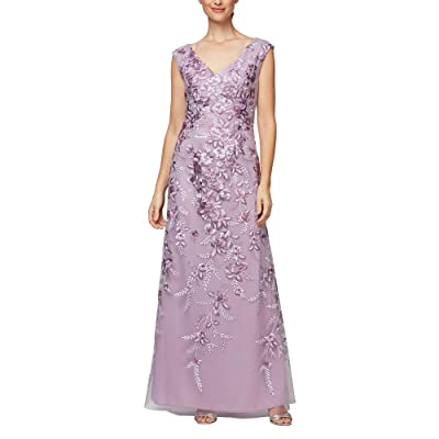Alex Evenings Long Embroidered Sleeveless V-Neck Dress (Mauve Multi) Women
