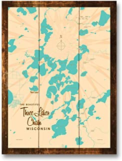 Three Lakes Chain Wisconsin Vintage-Style Map Rustic Wood Art Print by Lakebound (9