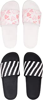 BEONZA Women Combo Pack of 2 Pairs of Flip Flops Slides Slippers