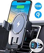VANMASS Universal Wireless Car Charger Mount, Leading 15W Qi Fast Charge, Built-in Battery, Auto-clamp, Ideal for iPhone 11/11 Pro/XR/XS/X/8, Samsung S20/Note 10/S10/S9/S8/S7, Pixel/LG?Two Patent?