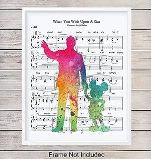 Mickey Mouse Walt Disney Music Art Print, Wall Art Poster - Chic Home Decor for Bedroom, Bathroom, Nursery, Girls, Boys, Kids, Baby Room - Gift for Disney World, Disneyland Fans, 8x10 Photo Unframed