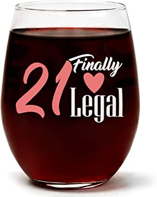 """""""21 Finally Legal"""" Funny Cute 21st Birthday Wine Glass 