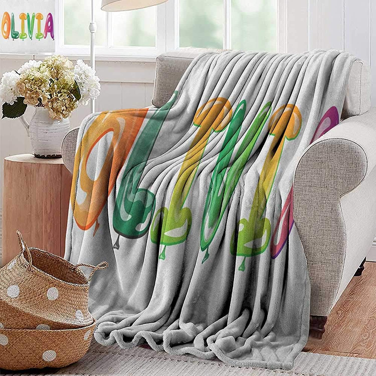 XavieraDoherty Camping Blanket,Olivia,Well-Known Traditional Girl Name with Medieval Roots Modern Funny Party Letters, Multicolor,Flannel Blankets Made with Plush Microfiber 35 x60
