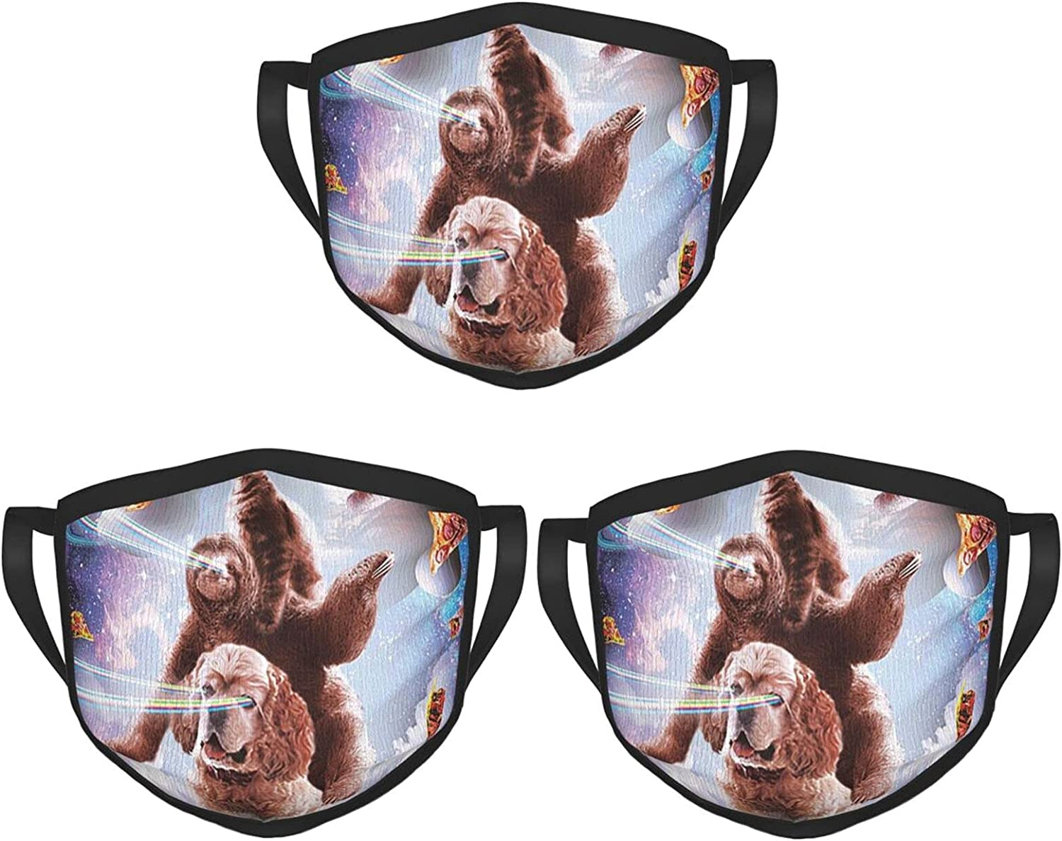 Balaclava Earmuffs Space Cat Laser Eyes Riding Sloth Dog Face Mouth Cover Mask Reusable Dust Scarf Towel Cover Headwrap