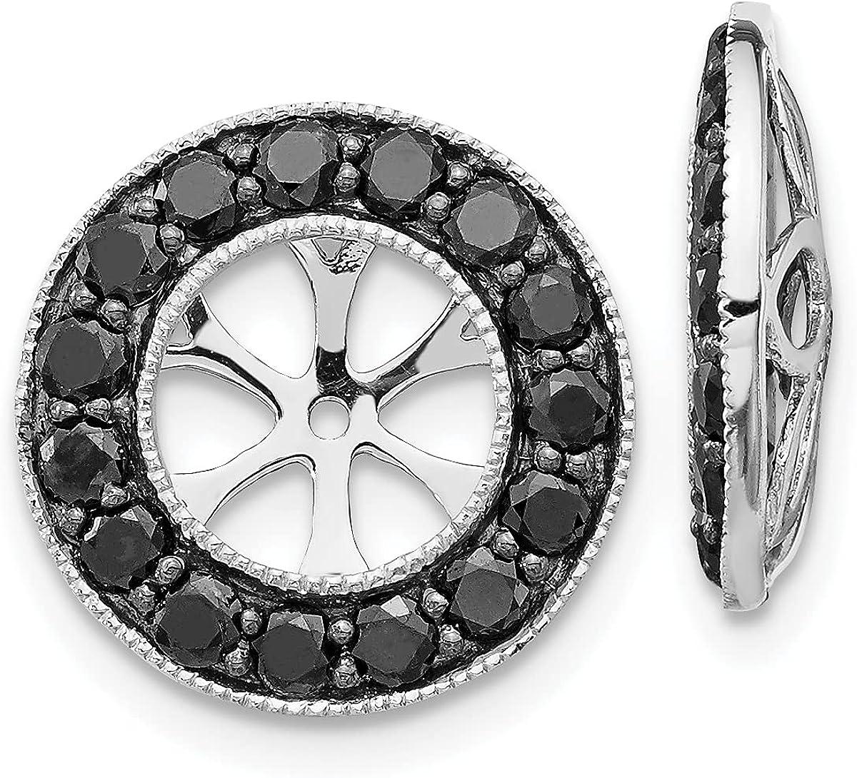 Lex & Lu 14k White Gold Black Diamond Earring Jackets LAL789