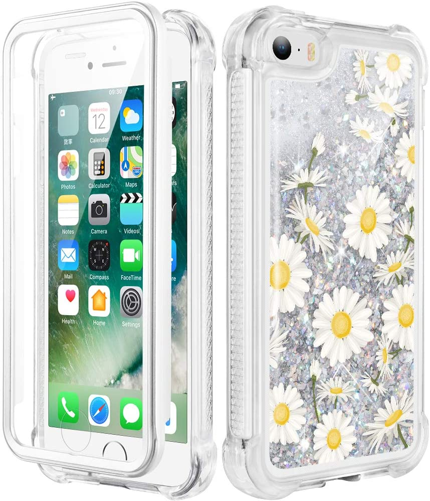 Caka iPhone 5 Case, iPhone 5S Case, iPhone SE (2016) Glitter Full Body Case with Built in Screen Protector Bling Sparkle Floating Liquid Girls Girly Women Protective Case for iPhone 5 5S SE (Daisy)