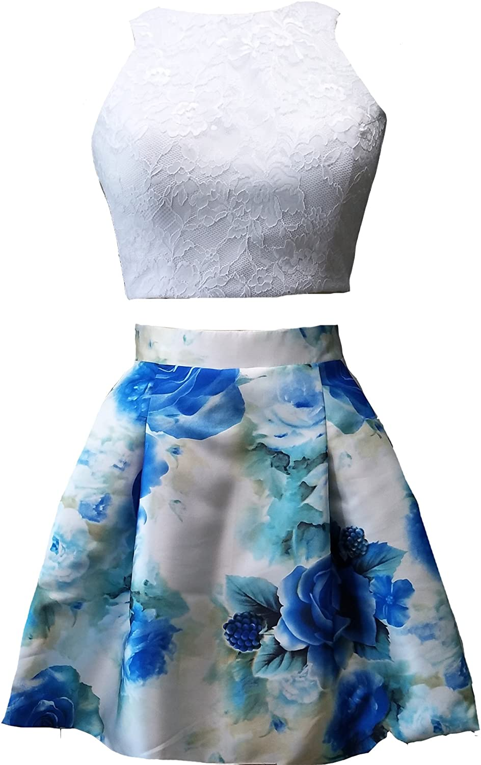 Lemai Lace and Floral Print 2 Pieces Short Prom Homecoming Cocktail Dresses